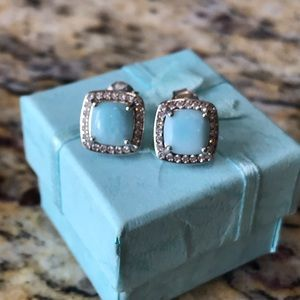 Sterling Silver Larimar Cushion Earrings